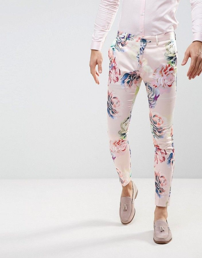 ASOS WEDDING Super Skinny Suit Pants With Nude Floral Print