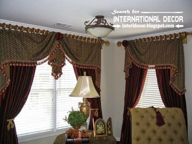 Stylish Country Curtains For Living Room In English Style Burgundy Curtains With Patterned