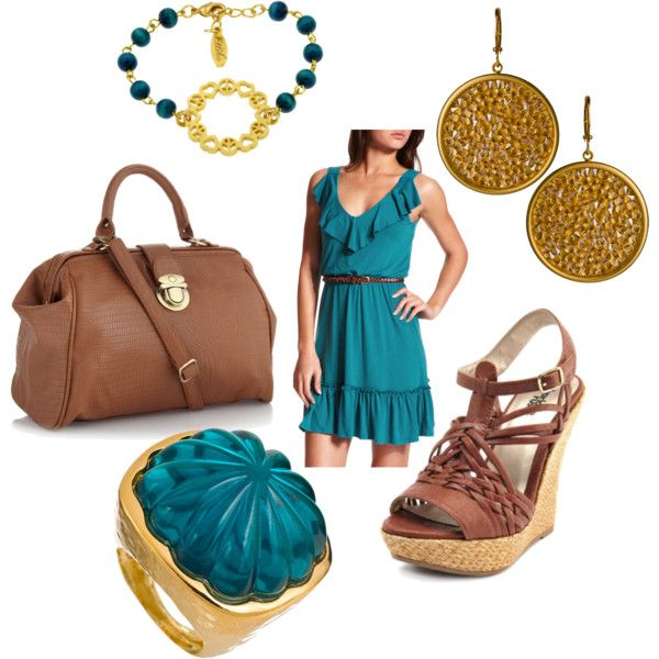 teal and brown, created by jwp0709.polyvore.com- Another way to wear it, and I have these shoes too :)