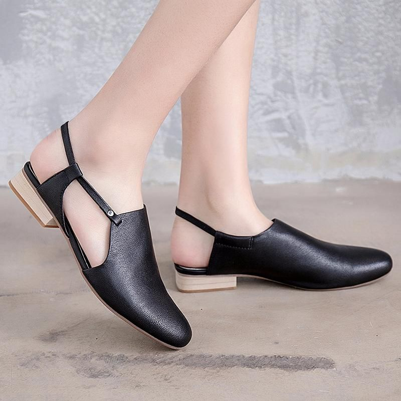 Cute Leather Flat Heel Black Sandals Women Shoes X1167 #summervacationstyle