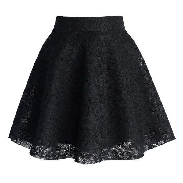 9519041723 Black Full Lace Skater Skirt ❤ liked on Polyvore featuring skirts, circle  skirt, lace skirt, flared skirt, knee length lace skirt and lacy skirt