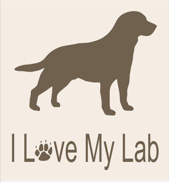 Stencil I LOVE my Lab 14x15 Dog Stencil Burlap por SuperiorStencils