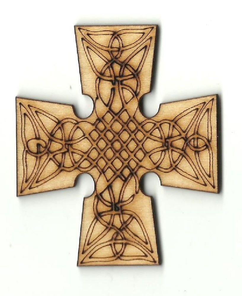 Celtic Cross Engraved Unfinished Laser Cut Wood Shape REL73