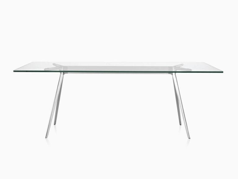 Magis Baguette Table With A Clear Glass Top And Polished Cast Aluminum Legs In Front View Table Magis Dining Table