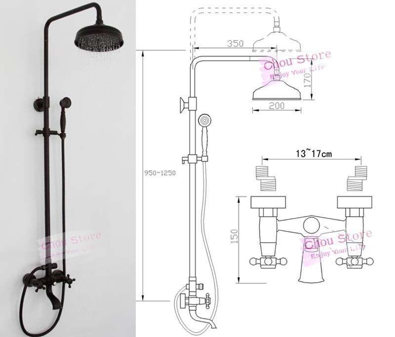 Oil Rubbed Bronze Bathroom Rain Shower Faucet Set Shower Kit B18f