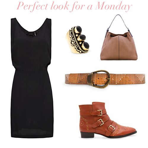MANGO - I love the contrast of the black dress with boots. Not sure if i could pull it off, but i love the idea.