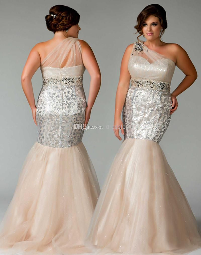 Champagne beads plus size prom dresses mermaid sequins sheer one