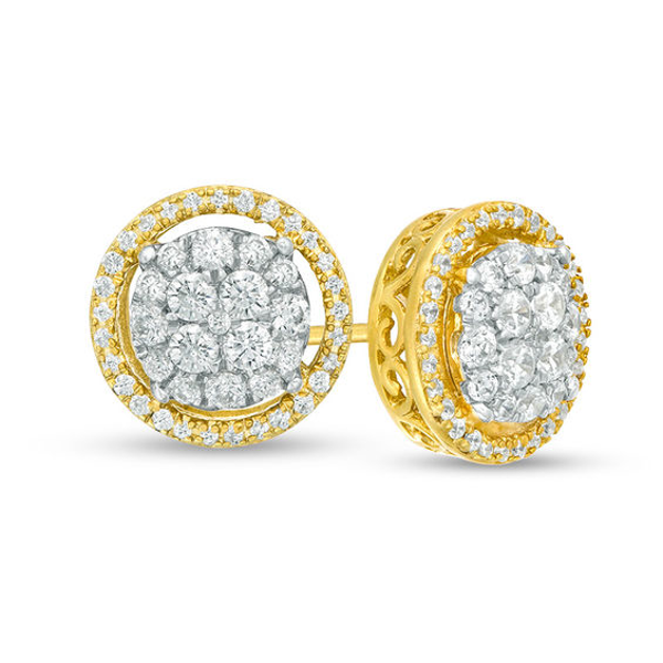 5 8 Ct T W Composite Diamond Frame Stud Earrings In 10k Gold Stud Earrings Diamond Earrings