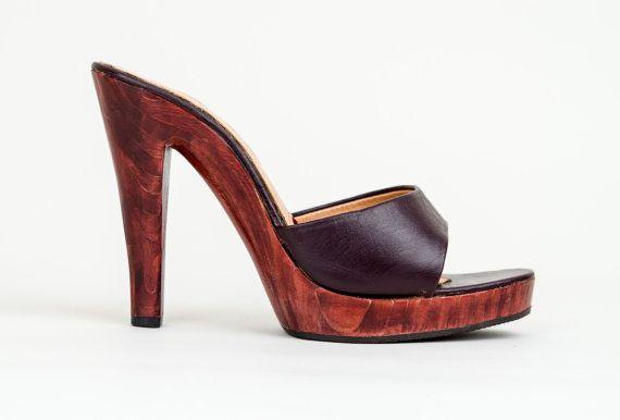 e6d854b319f14 1970s High Heel Platform Shoes - Vintage 70s Wooden Leather Platform ...