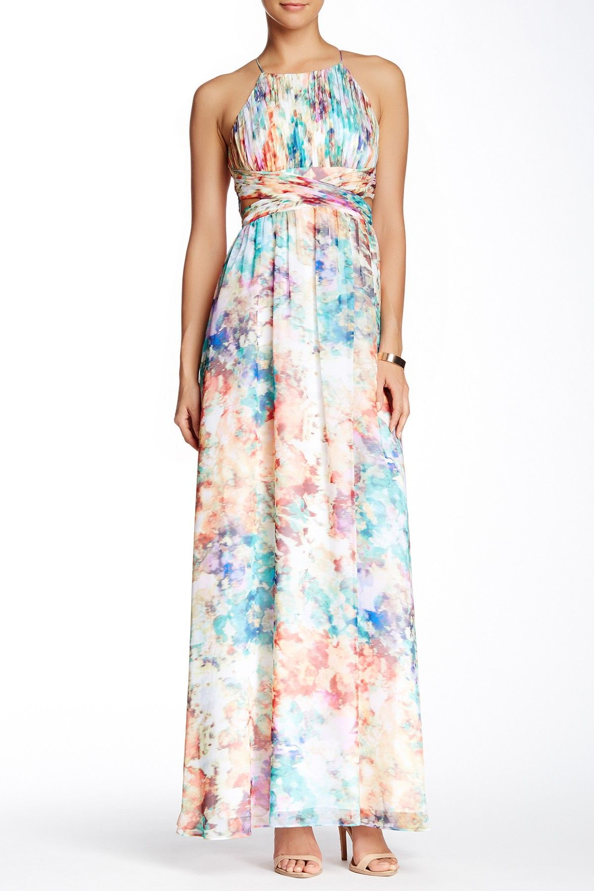 Printed & Pleated Gown
