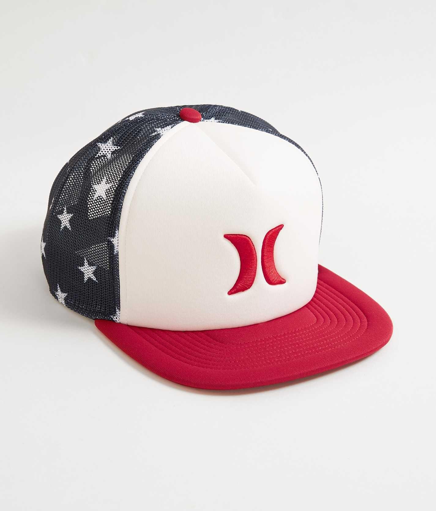 Hurley Blocked Usa Trucker Hat Men S Hats In White Buckle Hats For Men Trucker Hat Mens Snapback Hats