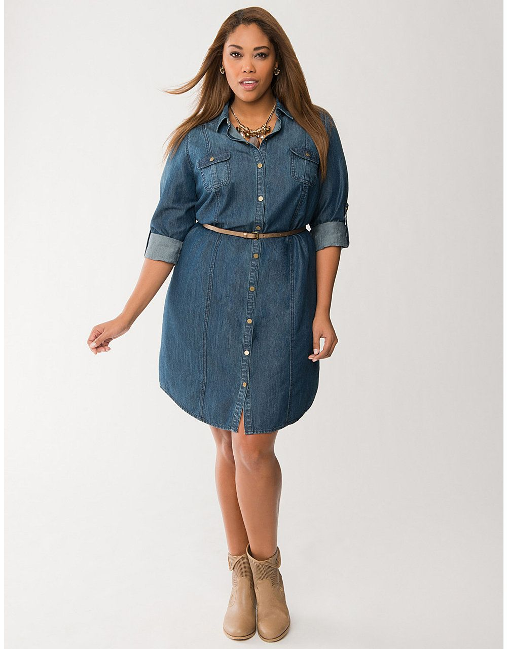 100939f01b050 Plus Size Denim Shirt Dress by Lane Bryant