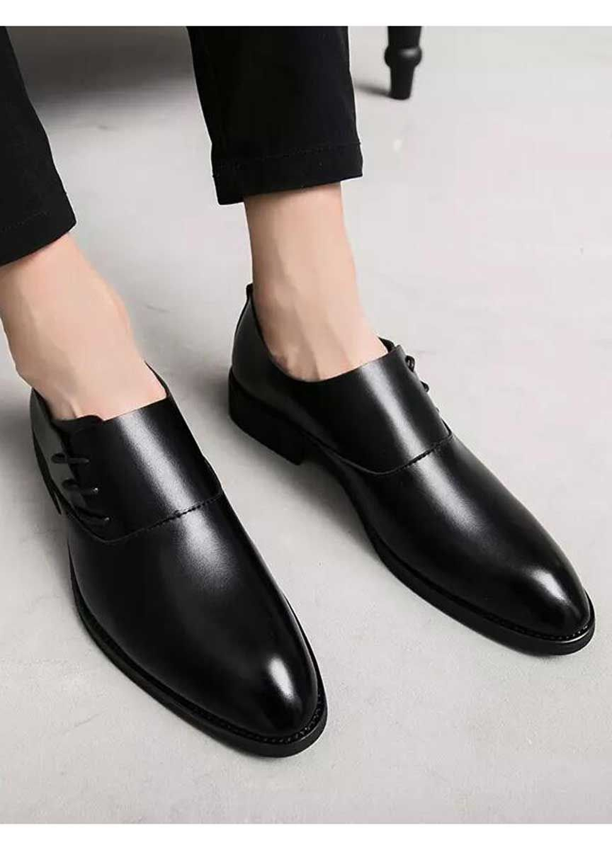 Mens Black Leather Dressshoes With Side Lace In Plain