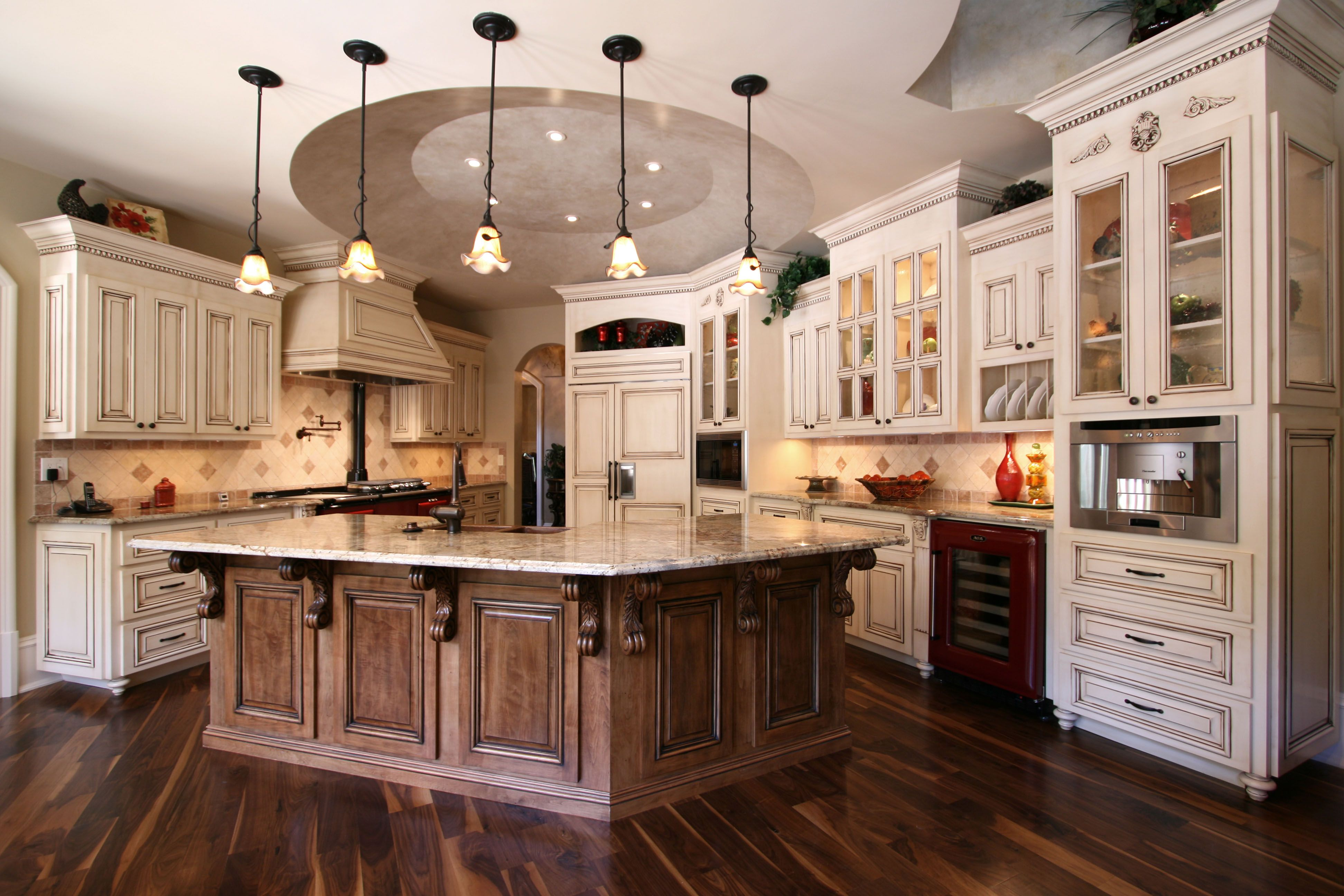 Custom Cabinets By Walker Woodworking This Beautifully Styled French Country Kit Custom Kitchen Cabinets Design Country Style Kitchen Country Kitchen Cabinets