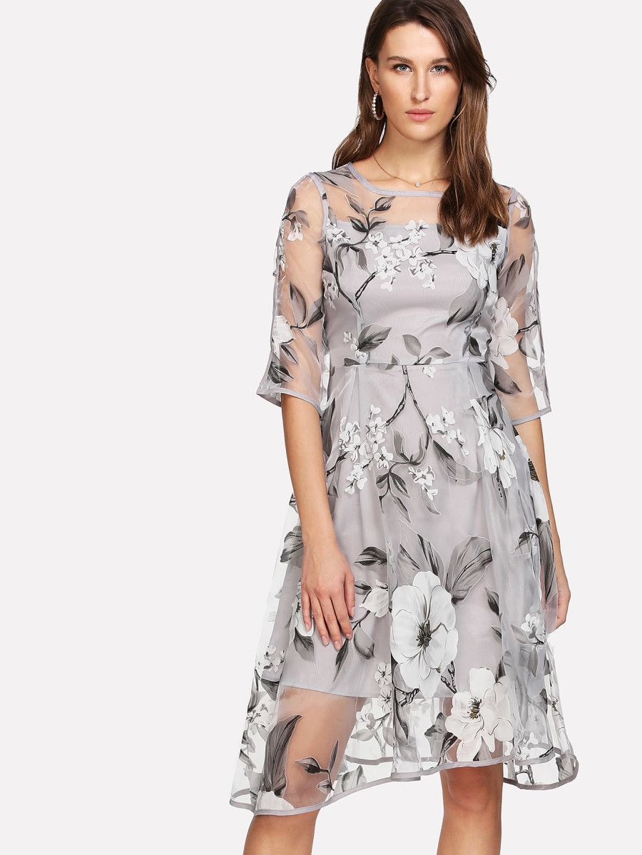 c0af2358bd Shop Floral Organza Overlay 2 In 1 Dress online. SheIn offers Floral  Organza Overlay 2 In 1 Dress & more to fit your fashionable needs.