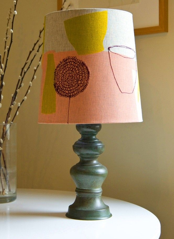 Pink mustard still life lampshade by maxine sutton radiance