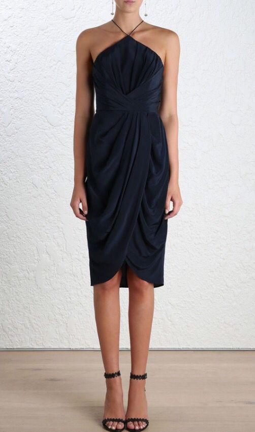 Zimmerman Navy Silk Tuck Dress In 2019 Dresses Fashion