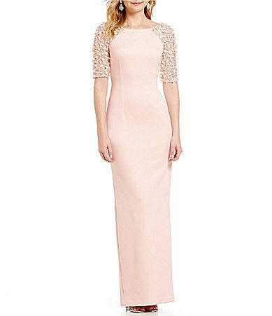 Adrianna Papell Beaded Stretch Knit Column Gown Dillards Column Gown Beaded Gown Mother Of Groom Dresses