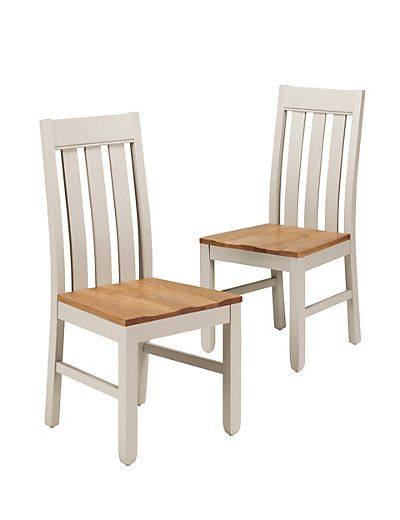 Set Of 2 Padstow Putty Fabric Dining Chairs: 2 Padstow Slat-Back Dining Chairs Furniture £299