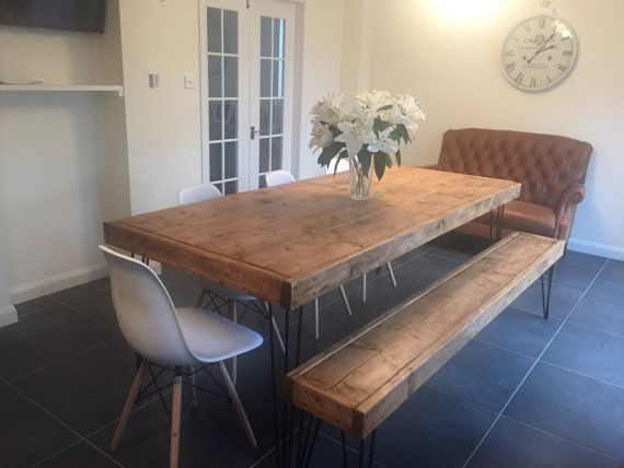 Rustic Table And Bench With Hairpin Legs 2200 X By Rusticcreati Rustic Kitchen Tables 10 Person Dining Table Oak Dining Table