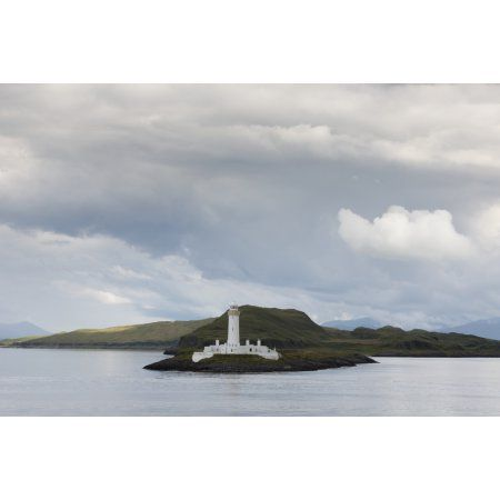 White lighthouse along the coast Scotland Canvas Art - John Short Design Pics (19 x 12)