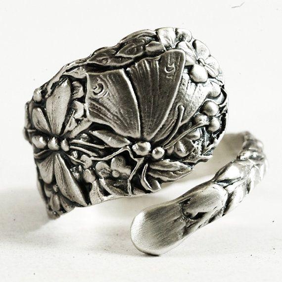 Dainty Spoon Ring Art Nouveau Butterfly in Sterling by Spoonier