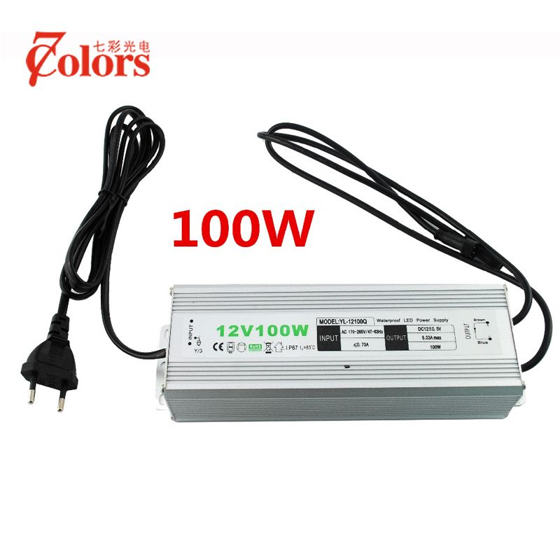 12v 100w Power Supply For Led Light Waterproof Ip67 Transformer 220v 12v Eu Us Uk Au Plug Led Driver With 2 Male Connector Led Lights Led Drivers Power Supply