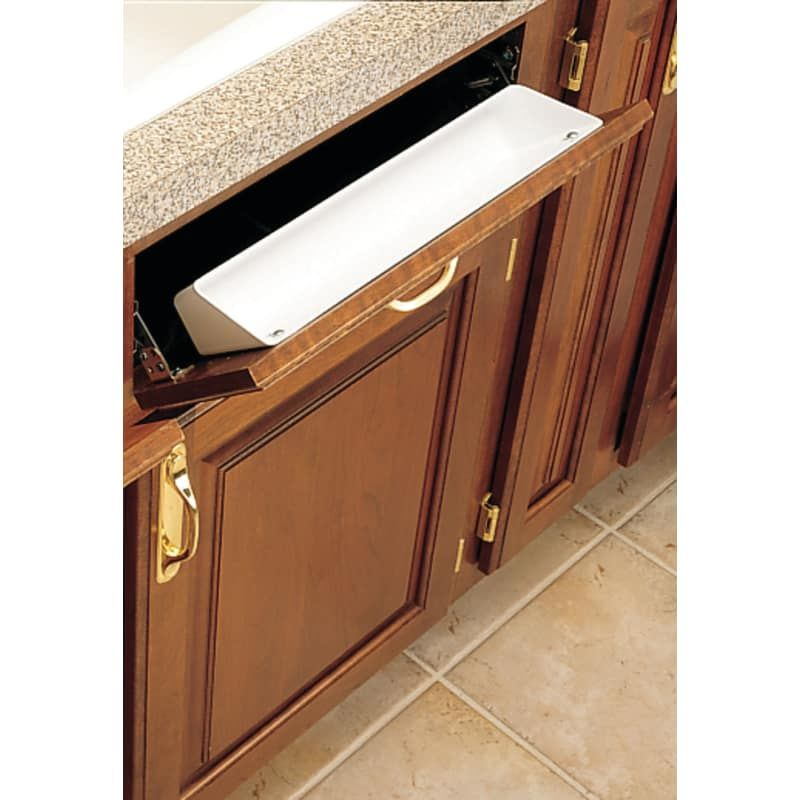 Rev A Shelf 6581 14 4 6581 Series 14 Standard Sink Tip Out Tray White Base Cabinet Organizers Tip Outs Tip Outs Rev A Shelf Base Cabinets Kitchen Sink Storage