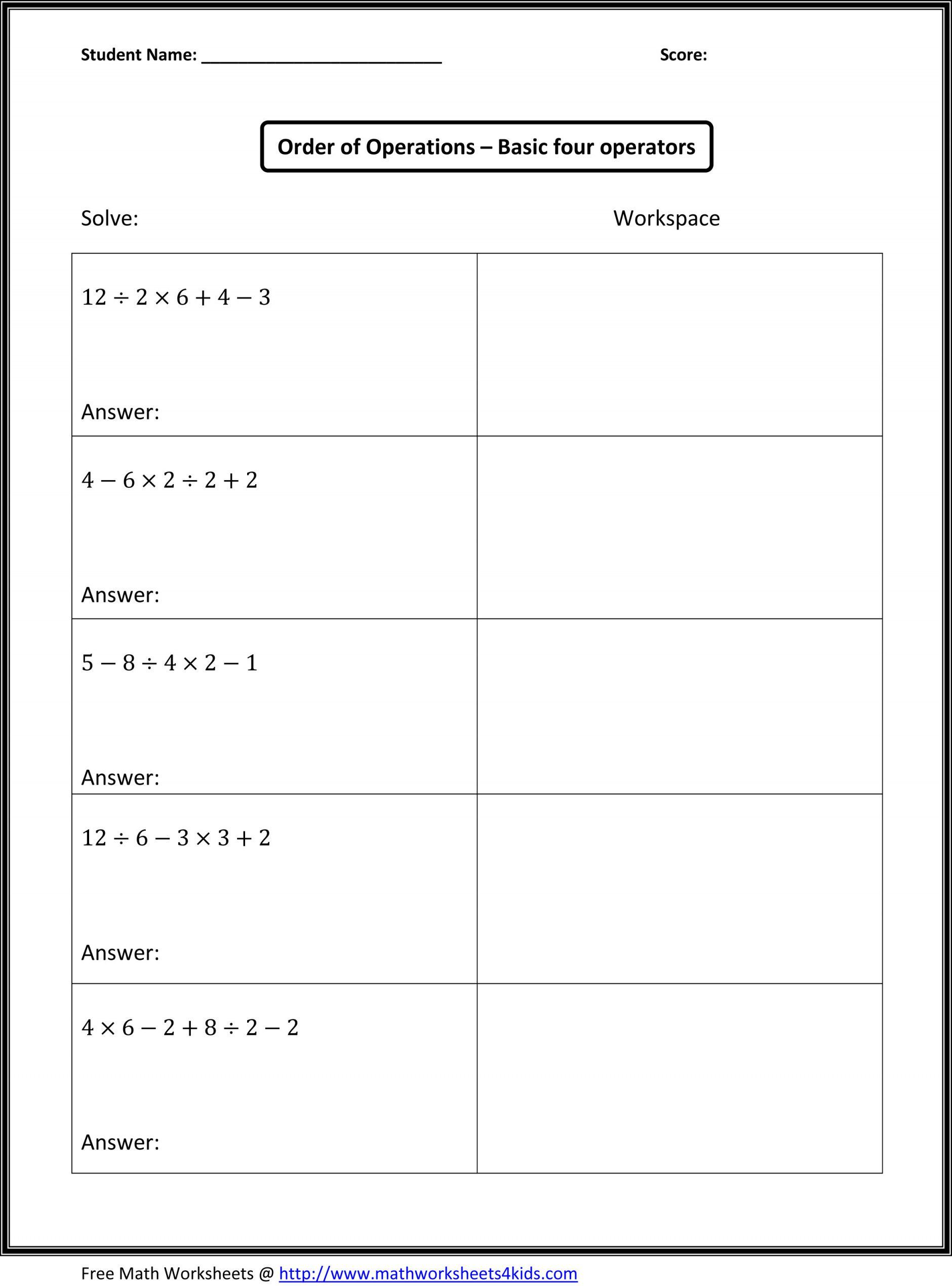 Pemdas Worksheets With Answers With Images
