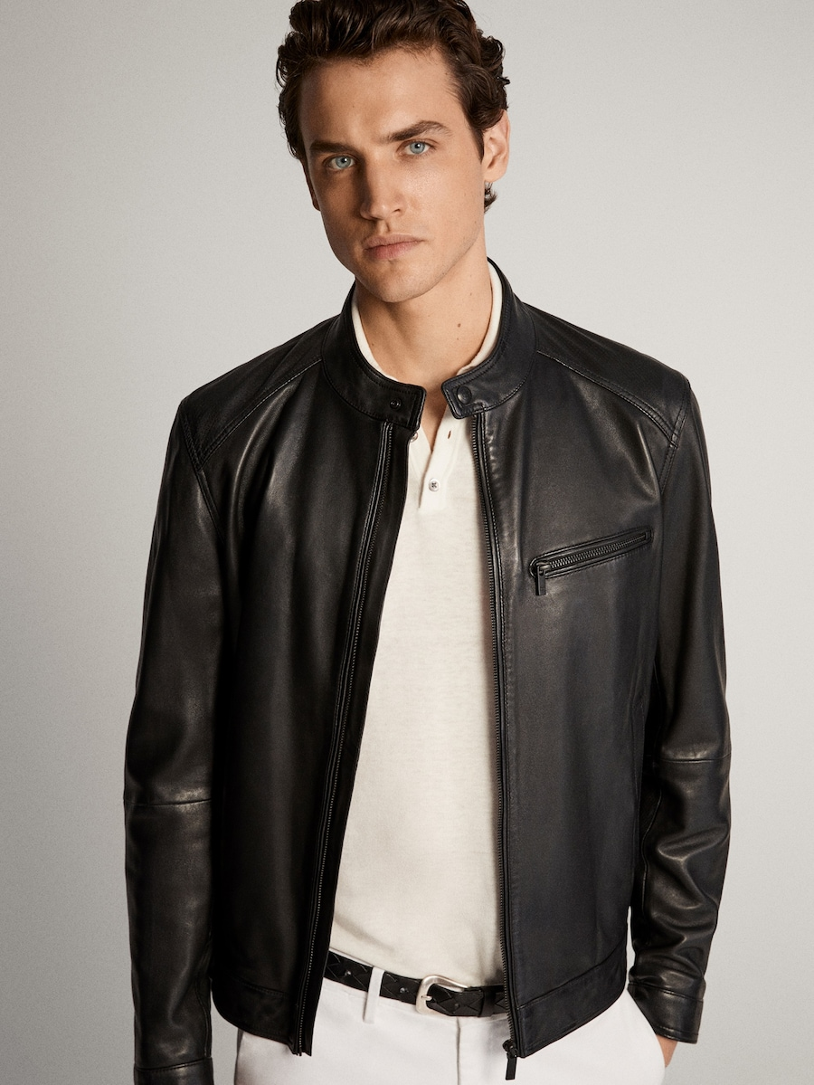 Black Nappa Leather Jacket With Cutwork Details Men Massimo Dutti Leather Jacket Leather Jacket Outfit Men Leather Jacket Outfits [ 1199 x 900 Pixel ]