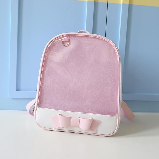 92edfa52ed MSMO 2017 Summer Candy Clear Bow Backpacks Solid Color Cute Girls School  Bags for Girls Transparent PU Leather Women Backpack