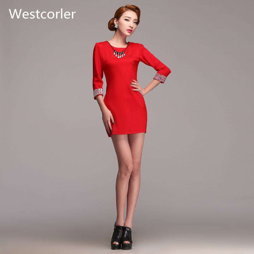 Click to buy ucuc westcorler red long sleeve cocktail dresses