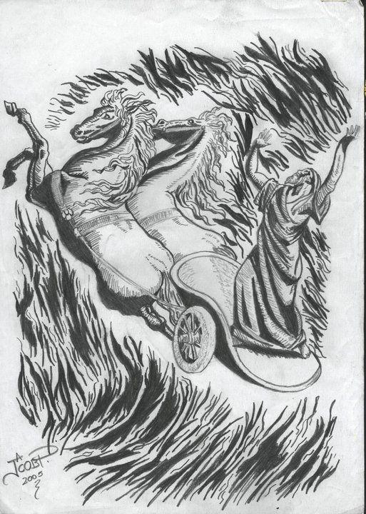 Elias En El Carro De Fuego A4 Lapiz Jacks Gallery Dibujos