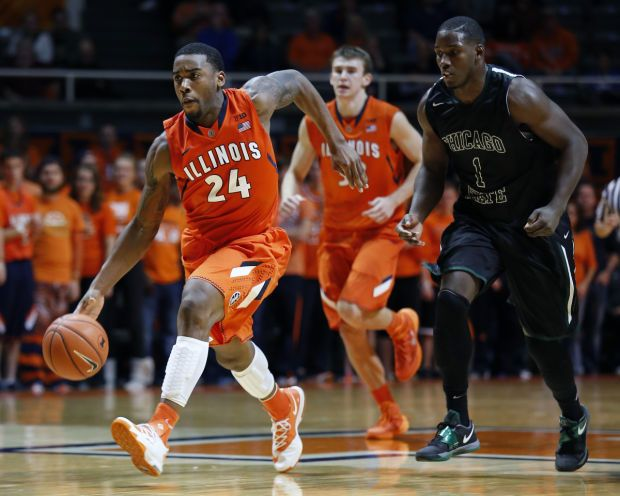 Illinois Guard Rayvonte Rice 24 Makes A Break Down The Court Past Chicago State Forward Eddie Denard 1 Illinois Basketball College Basketball Game Illinois