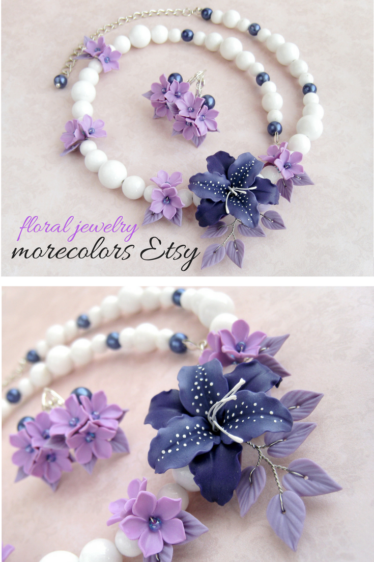 Statement Necklace And Earrings Lily Flowers Jewelry Set Etsy Pretty Necklaces Romantic Gifts For Her Romantic Jewellery