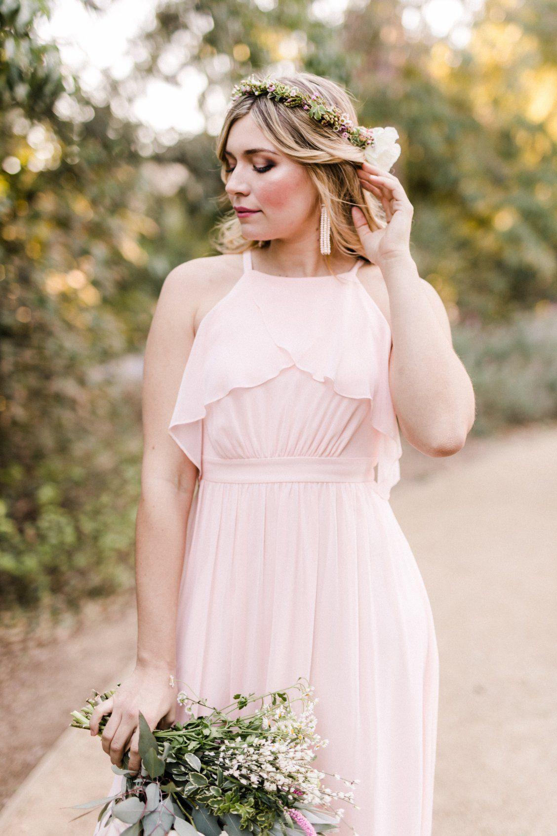 Ruffle pink bridesmaid dress that can be worn sleeveless