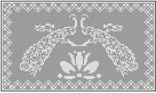 Filet Crochet Patterns - Doilies/Runners - PEACOCKS & LOTUS Runner FILET CROCHET PATTERN