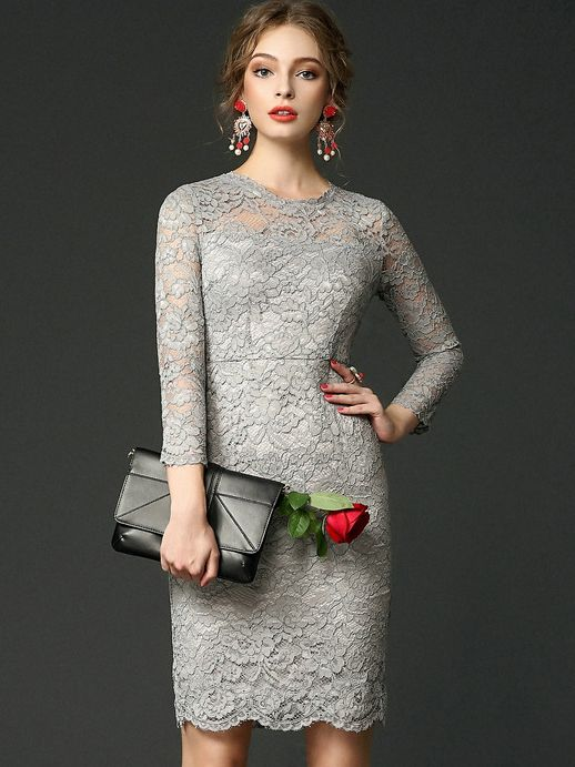 c4dce953c1 Shop Grey Round Neck Long Sleeve Lace Dress online. SheIn offers Grey Round  Neck Long Sleeve Lace Dress & more to fit your fashionable needs.