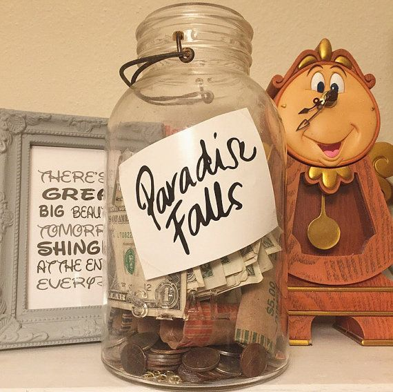 There is no better way to save for the vacation of your dreams!! A Paradise Falls saving jar is such a cute subtle way to show your love for the super sweet movie UP!  All labels come in a standard size on 3 inches wide! with a label to place decal on your self. So you can choose to make your own or use the one I provided or just stick it on your favorite coin jar!I can make this label in any size!  This listing is for the label only! If you need it on a jar please message me!  If you dont…