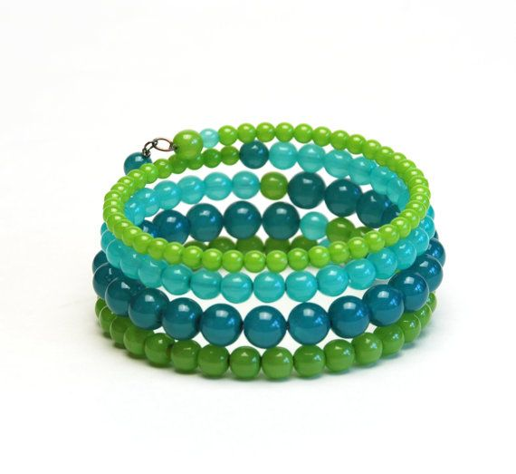 Layered Lime Turquoise and Teal Memory Wire Bracelet by lilicharms