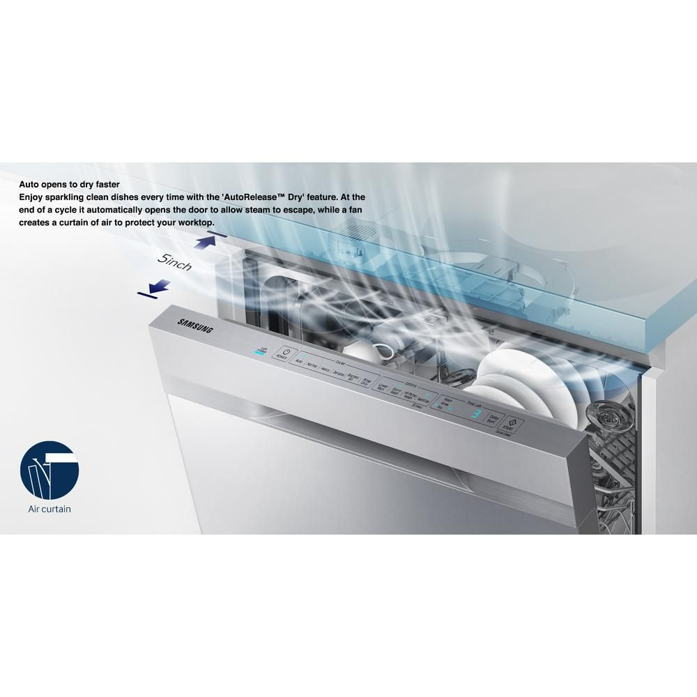 Samsung 24 In Top Control Stormwash Dishwasher In Stainless Steel And Autorelease Dry 48 Dba Dw80k5050us The Home Depot Steel Tub The Home Depot Samsung Appliances