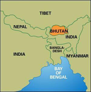 Bhutan Map Tibet Nepal India Geography And Borders Himalayas - Bhutan map
