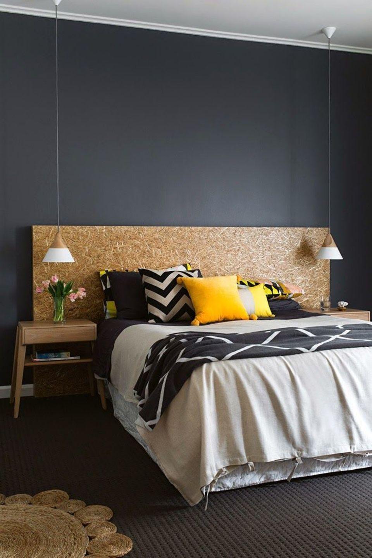 T te de lit pas cher id es diy tr sor chic d co chambre jaune t te de lit pas cher et lit - Chambre parentale grise ...