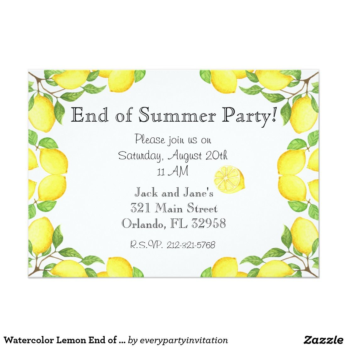 Watercolor Lemon End of Summer Party Invitation | ✽ Support Small ...