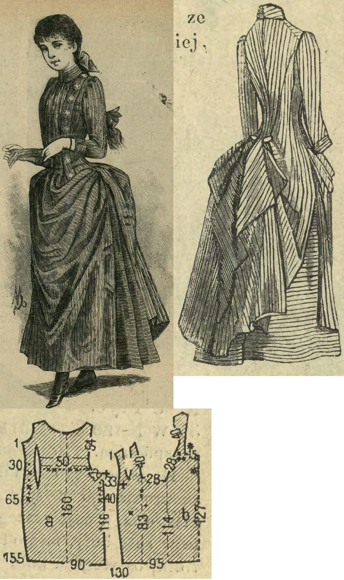 Tygodnik Mód 1888.: Misses' overdress from red&white striped cotton.