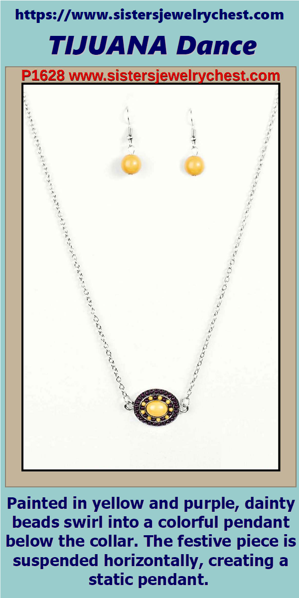Painted in yellow and purple, dainty beads swirl into a colorful pendant below the collar. The festive piece is suspended horizontally, creating a static pendant. Features an adjustable clasp closure. #Fashion #Style #Trends #Accessories #Sisters #Jewelry #Chest #Bling #Beauty #Trends