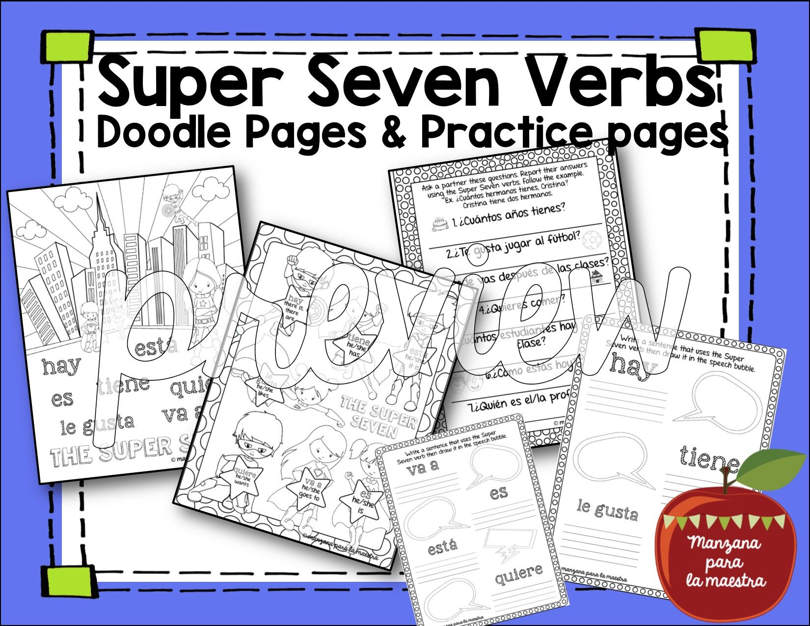 Spanish Present Tense Super Seven Verbs Doodle Pages
