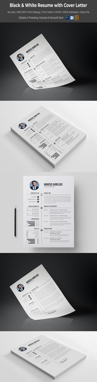 Black & White Resume Template Resume, Templates, Modern