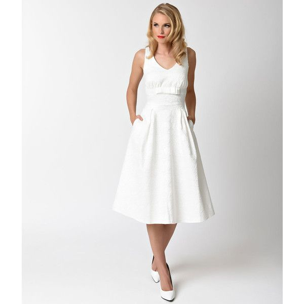 Voodoo Vixen 1950s Style White Lace Monroe Bridal Swing Dress 82 Liked On