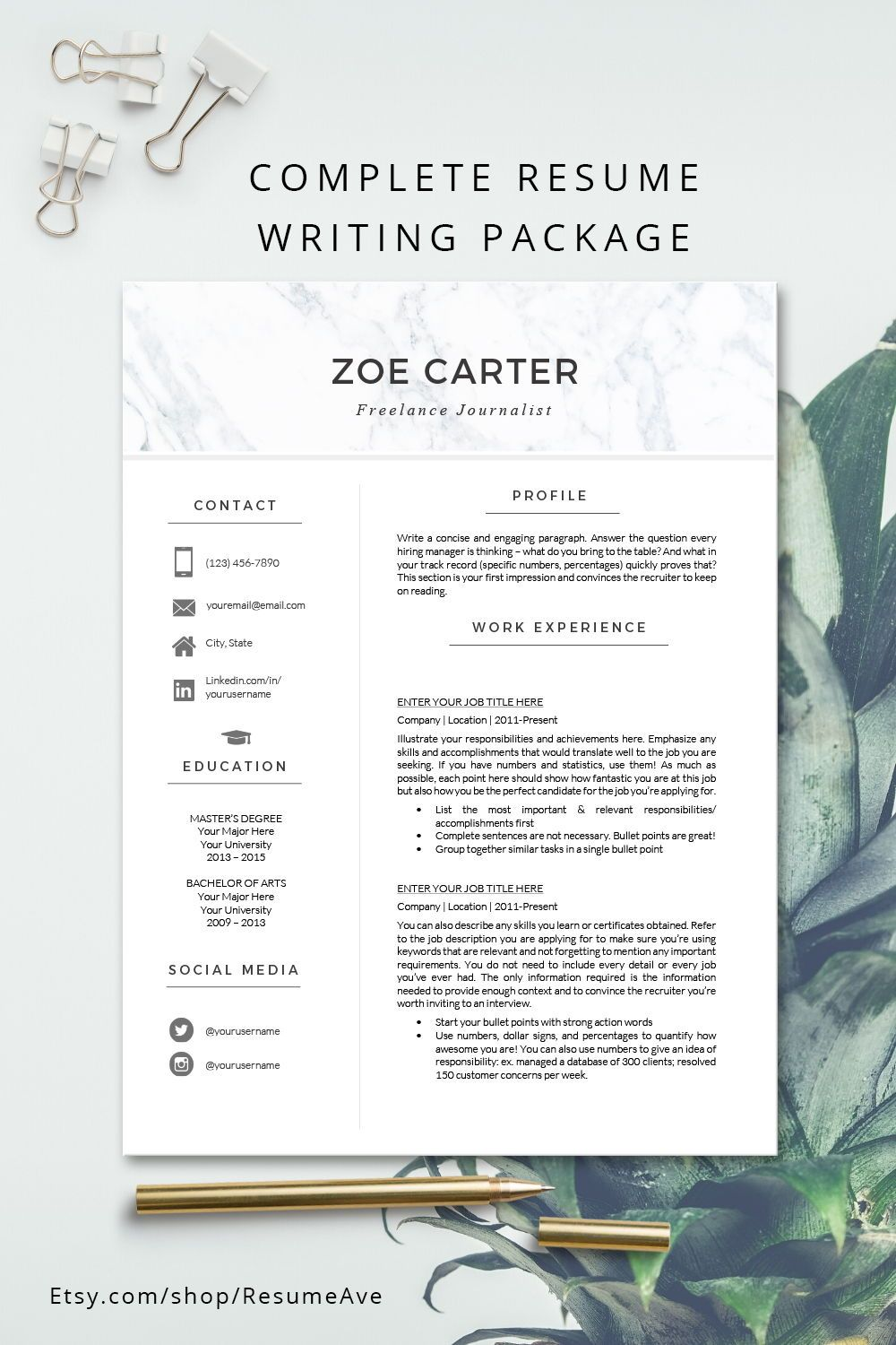 Nurse Resume Template With Marble Header Modern And Creative Etsy In 2020 Resume Template Word Resume Template Minimalist Resume Template